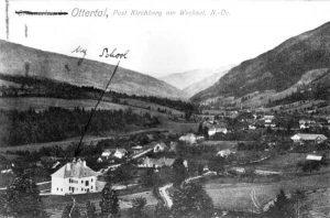 """Wittgensteins Schule in Otterthal 1925 mit seinem Autograph """"My School"""" auf der Postkarte"""