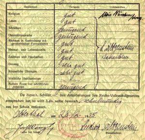 Schulzeugnis, das von Wittgenstein unterschrieben wurde